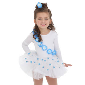 Youth Something Blue White Skirted Leotard and Hairpiece
