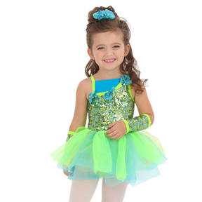 Youth Tatiana Asymmetrical Sleeveless Skirted Leotard