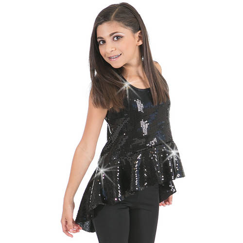 Girls Sequin Peplum Tank : G312C