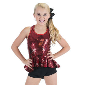 Girls Sequin Peplum Tank