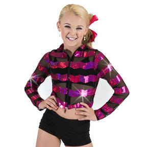 Girls Zig Zig Sequin Mesh Jacket