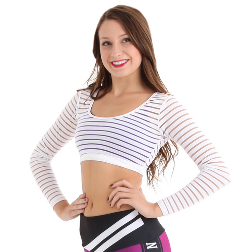 Long Sleeve Striped Mesh Top : G318