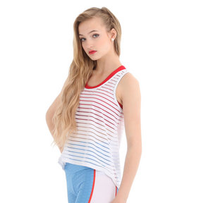 Girls Striped Mesh Tank