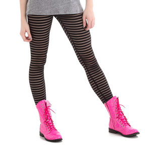 Girls Stripe Mesh Legging