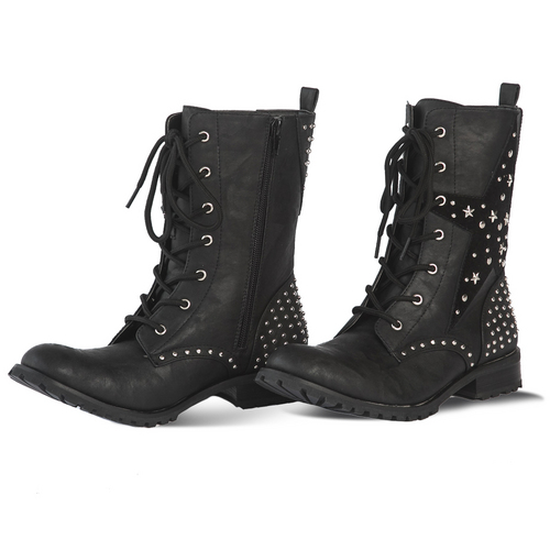 Gia Mia Womens Star Combat Boot : GS7W