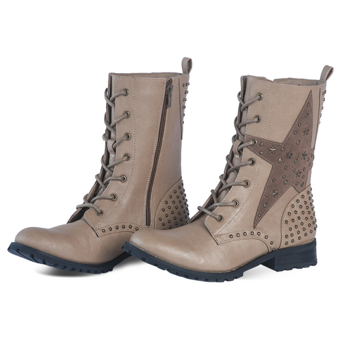 Kids Tan Star Combat Boot : ZGS7C