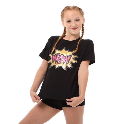 Dance Tops | Girls Wow Sequin Tee - Just For Kix