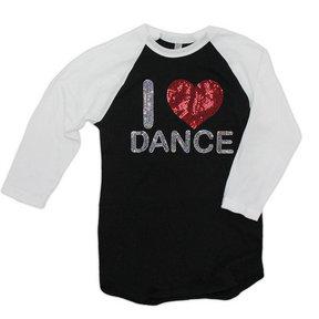 I Love Dance Sequin Raglan