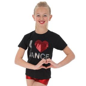 Girls Sequin I Heart Dance Tee