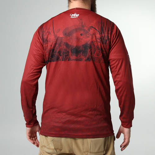 MOVE U Dive Maroon Long Sleeve Fishing Jersey : MF1022