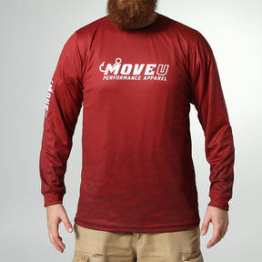 MOVE U Dive Maroon Long Sleeve Fishing Jersey