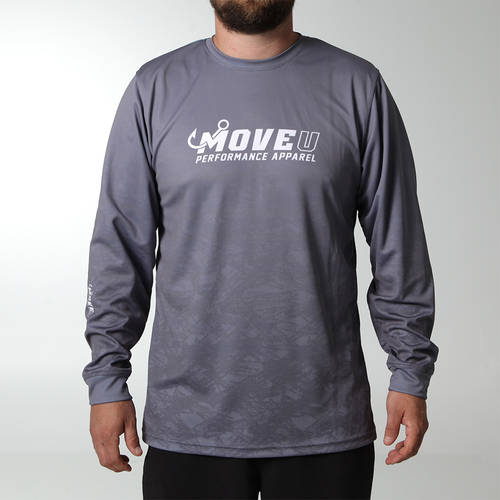 MOVE U Dive Grey Long Sleeve Fishing Jersey : MF1028
