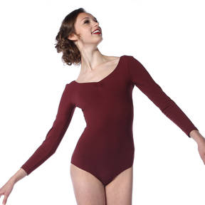 Pinched Front Long Sleeve Leotard
