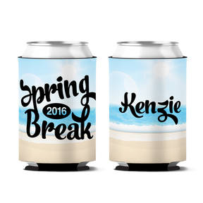 Custom Beach City Spring Break Personalized Can Koozie