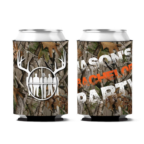 Custom Camo Stags Bachelor Party Personalized Can Koozie  : WI396