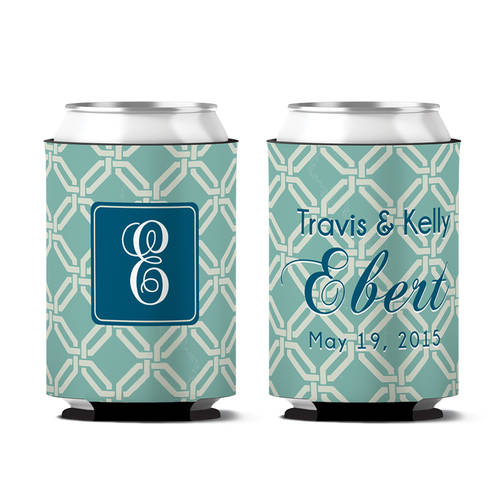 Custom Classic Knot Wedding Day Can Koozie : WI398