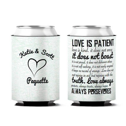 Custom Love Is Patient Wedding Day Can Koozie : WI399