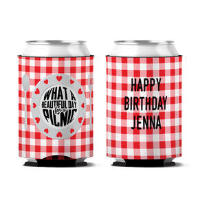 Custom What A Beautiful Day Personalized Birthday Can Koozie