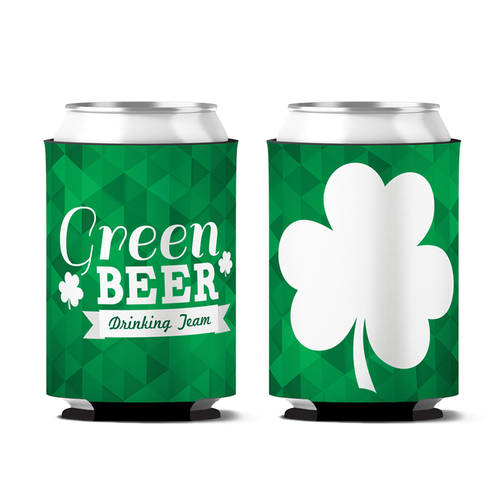 Custom Clovers Up Drinking Team Personalized Can Koozie : WI404