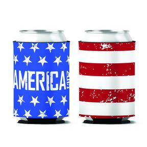 Custom American Flag Patriotic 4th of July Can Koozie