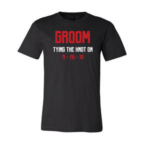 Adult Custom Tying The Knot Groom Bachelor Party T-Shirt