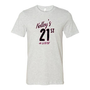 Adult Custom 21st Birthday Celebration T Shirt