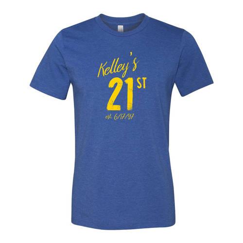 Adult Custom 21st Birthday Celebration T-Shirt : WI327