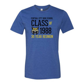 Adult Custom Retro Mascot Class Reunion T-Shirt