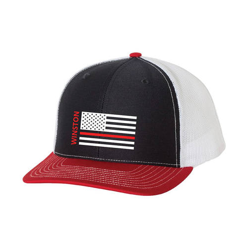 The Teehive Hold The Line Custom Firefighter Trucker Hat : WI717