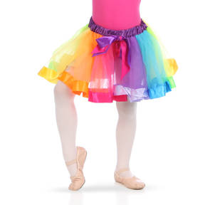 Rainbow Striped Ribbon Trim Tutu Skirt
