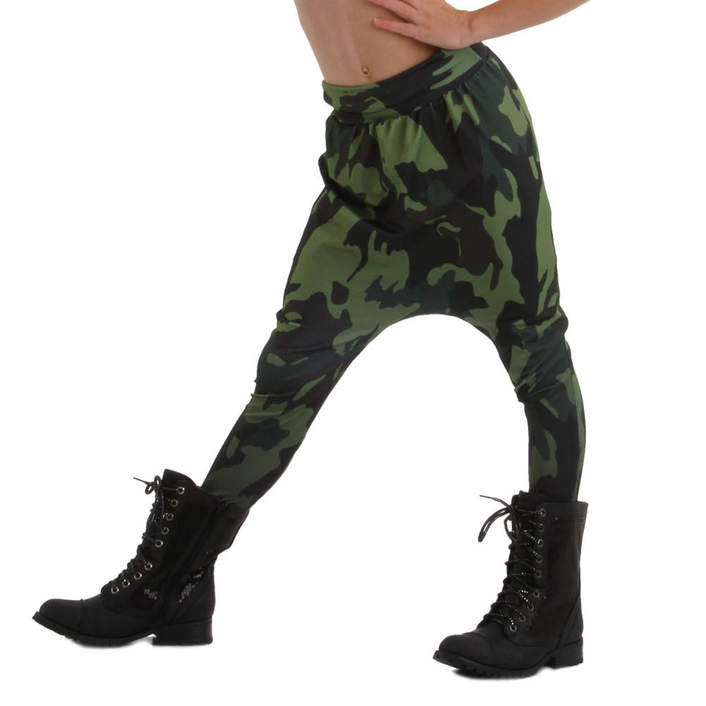 Perfect for the edgy, urban dancer! These dye sublimated harem pants are a must have. Harem pant features an edgy camo print with a high waistband that can be worn high or folded down.